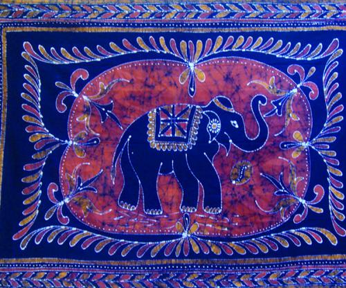 Ind Dbl Spread Elephant Batik
