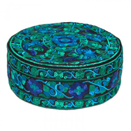 Large Embroidered Meditation Pillow - Blue/Green