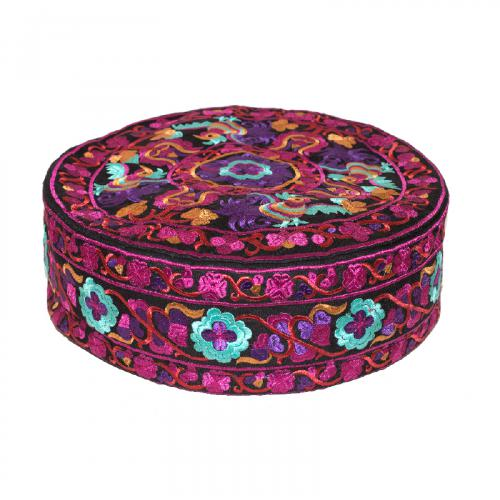 Large Embroidered Meditation Pillow - Fuschia