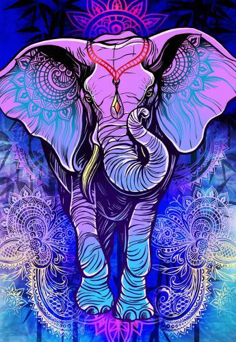 PURPLE MANDALA ELEPHANT